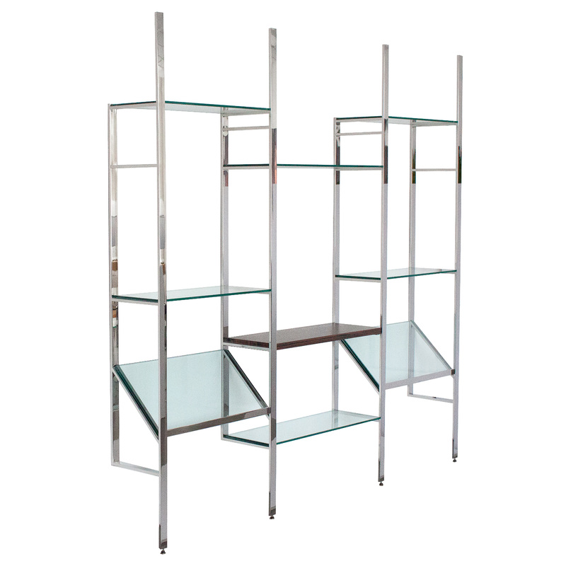 Milo Baughman Chrome and Glass Wall-Mounted Shelving System Unit ...