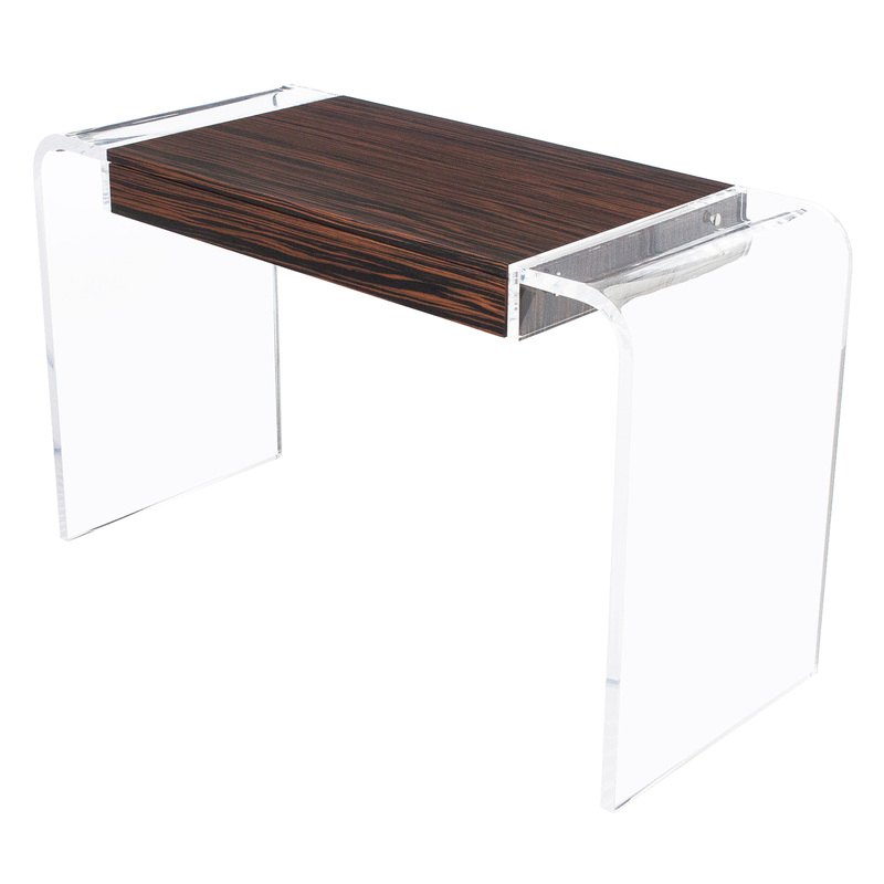 Macassar Ebony And Lucite Floating Waterfall Desk Vanity Writing Table Console Vern Vera